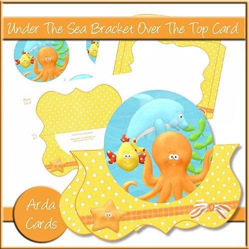 Under The Sea Bracket Over The Top Card - The Printable Craft Shop
