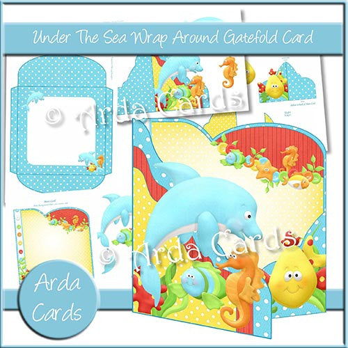 Under The Sea Wrap Around Gatefold Card - The Printable Craft Shop