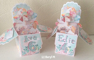 pop up box printables with unicorn designs and personalisation