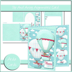 Up & Away Asymmetric Card - The Printable Craft Shop