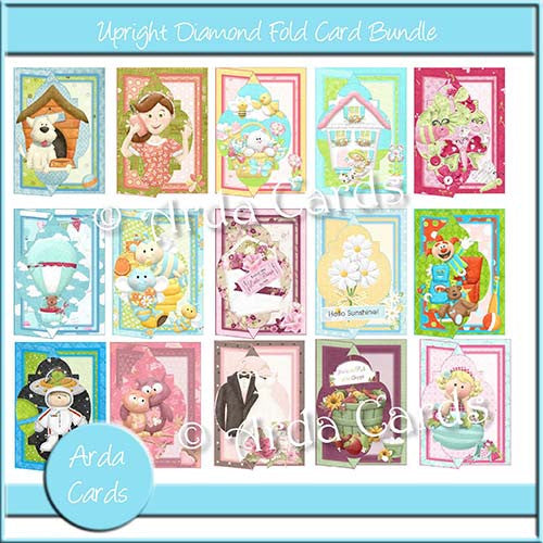 Upright Diamond Fold Card Bundle - The Printable Craft Shop