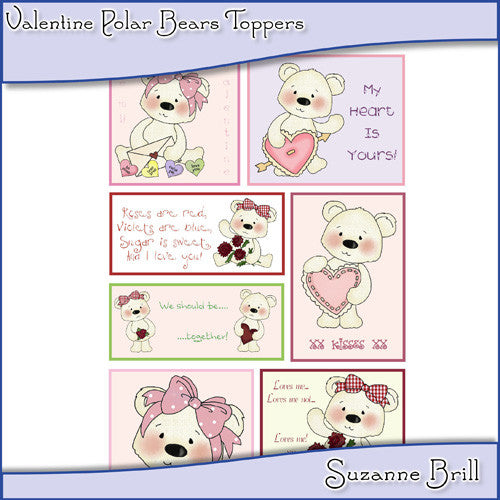 Valentine Polar Bears Toppers - The Printable Craft Shop