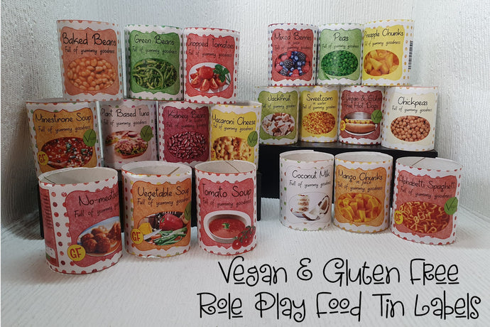 Vegan & Gluten Free Tinned Food Labels For Role Play Part 1