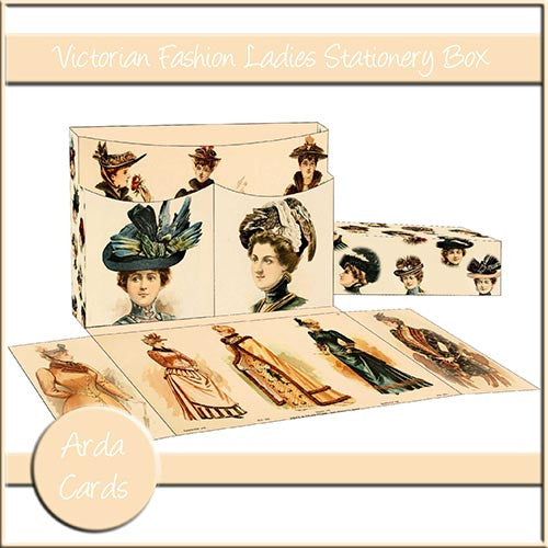 Victorian Fashion Ladies Stationery Box - The Printable Craft Shop