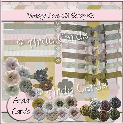 Vintage Love Scrapkit - The Printable Craft Shop