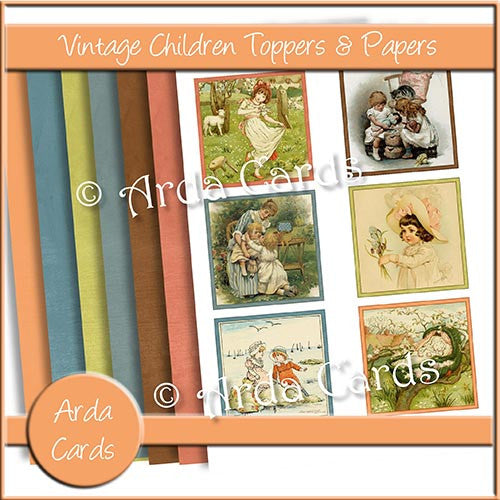 Vintage Children Toppers & Papers - The Printable Craft Shop