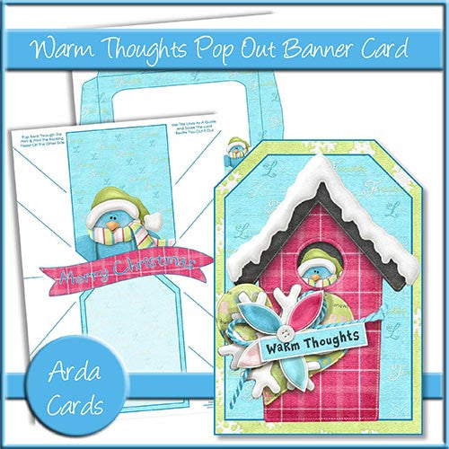 Warm Thoughts Pop Out Banner Card - The Printable Craft Shop