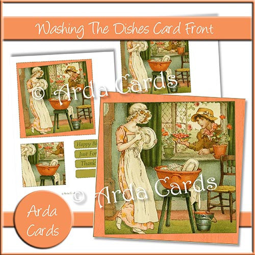 Washing The Dishes Card Front - The Printable Craft Shop