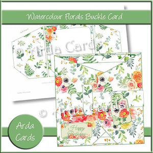 Watercolour Florals Buckle Charity Card: 20p to ActionAid - The Printable Craft Shop