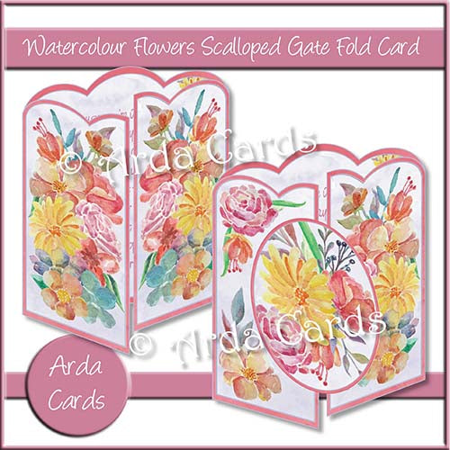 Watercolour Flowers Scalloped Gatefold Card Making Kit - The Printable Craft Shop