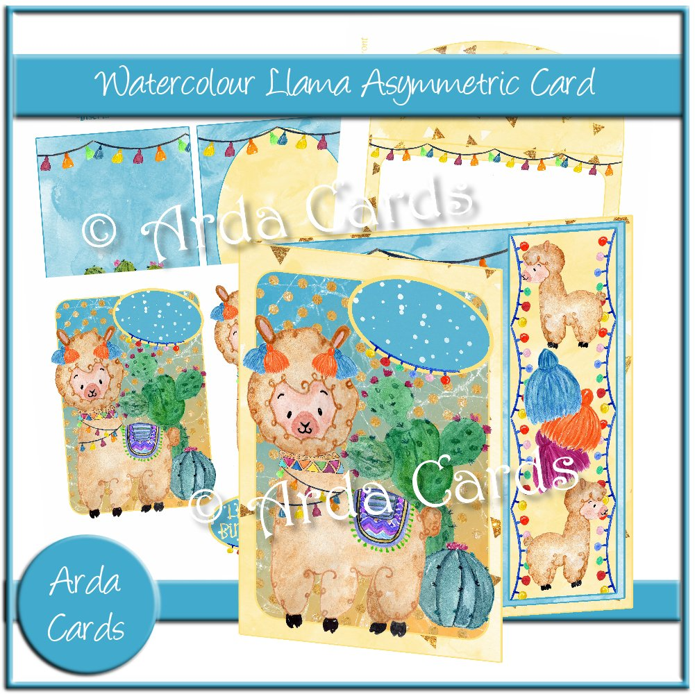 Watercolour Llama Asymmetric Card
