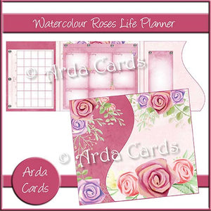 Watercolour Roses Life Planner - The Printable Craft Shop
