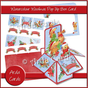 Watercolour Woofmas Pop Up Box Card