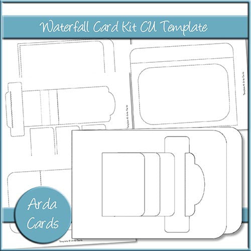 Waterfall Card Kit CU Template - The Printable Craft Shop