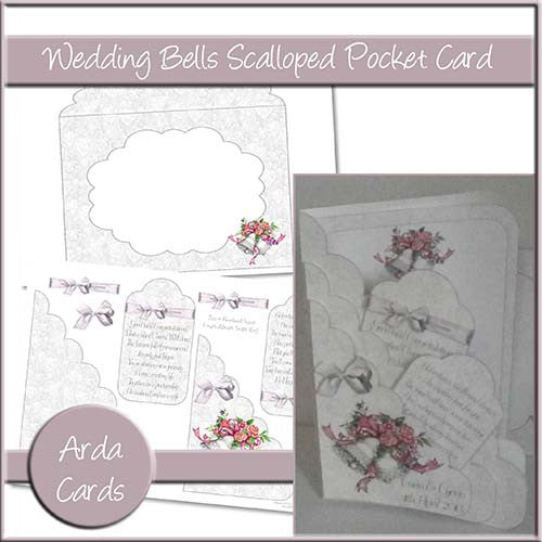 Wedding Bells Scalloped Pocket Card - The Printable Craft Shop
