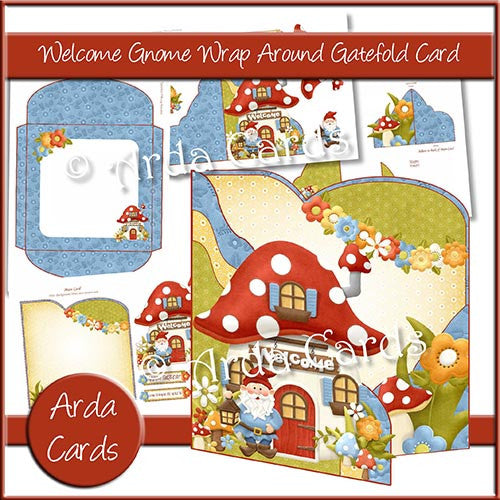 Welcome Gnome Wrap Around Gatefold Card - The Printable Craft Shop
