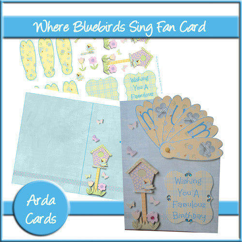 Where Bluebirds Sing Fan Card - The Printable Craft Shop
