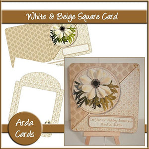 White & Beige Flower Card - The Printable Craft Shop