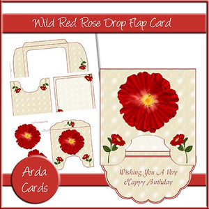 Wild Red Rose Drop Flap Card - The Printable Craft Shop