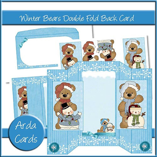 Winter Bears Double Fold Back Card - The Printable Craft Shop