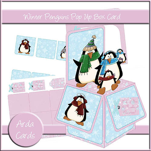Winter Penguins Pop Up Box Card - The Printable Craft Shop
