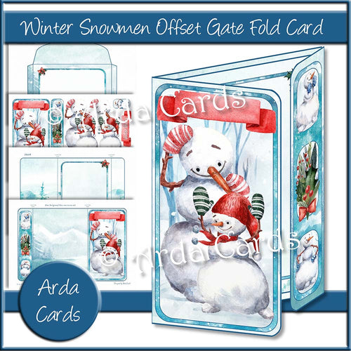 Winter Snowmen Offset Gate Fold Card