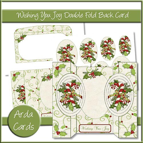 Wishing You Joy Double Fold Back Card - The Printable Craft Shop