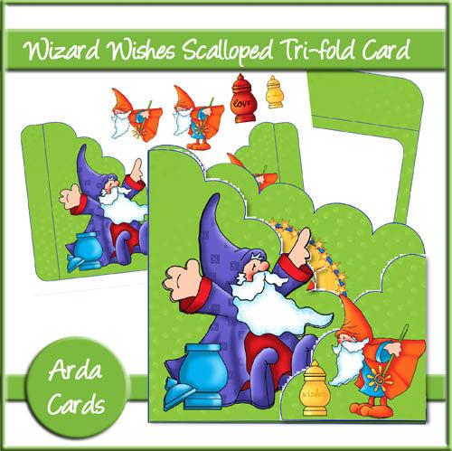 Wizard Wishes Scalloped Tri-fold Card - The Printable Craft Shop