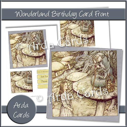 Wonderland Birthday Card Front - The Printable Craft Shop