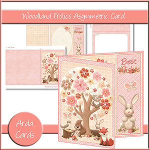 Woodland Frolics Asymmetric Card - The Printable Craft Shop