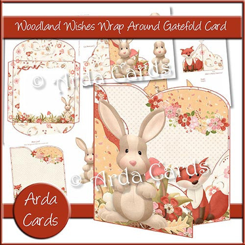 Woodland Wishes Wrap Around Gatefold Card - The Printable Craft Shop