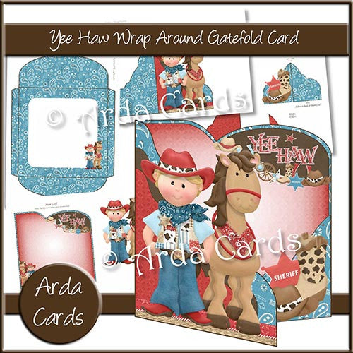 Yee Haw Wrap Around Gatefold Card - The Printable Craft Shop