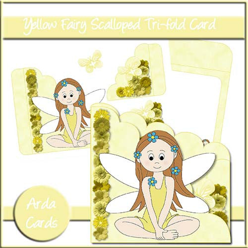 Yellow Fairy Scalloped Trifold Card - The Printable Craft Shop