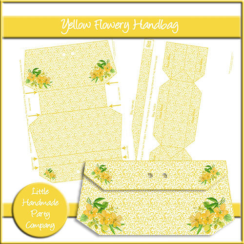Yellow Flowery Handbag - The Printable Craft Shop