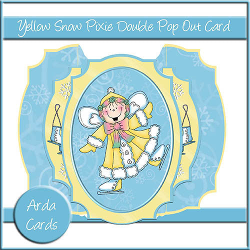 Yellow Snow Pixie Double Pop Out Card - The Printable Craft Shop