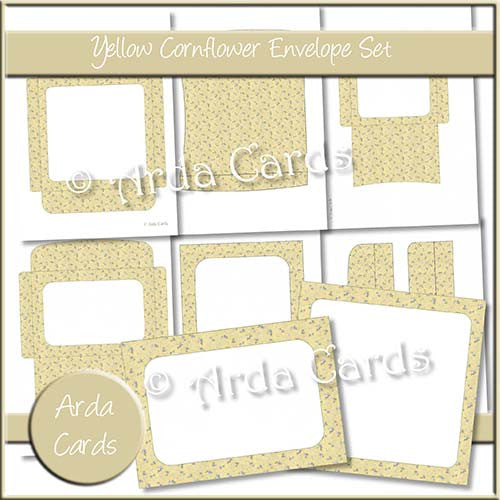 Yellow Cornflower Envelope Set - The Printable Craft Shop