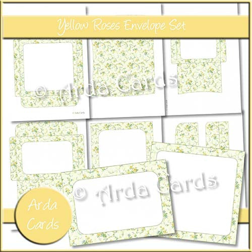Yellow Roses Envelope Set - The Printable Craft Shop