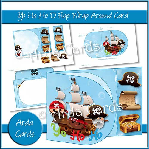Yo Ho Ho D Flap Wrap Around Card - The Printable Craft Shop