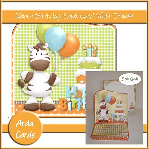 Zebra Birthday Easel Card With Drawer - The Printable Craft Shop