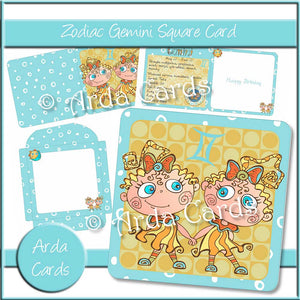 Zodiac Gemini Square Card