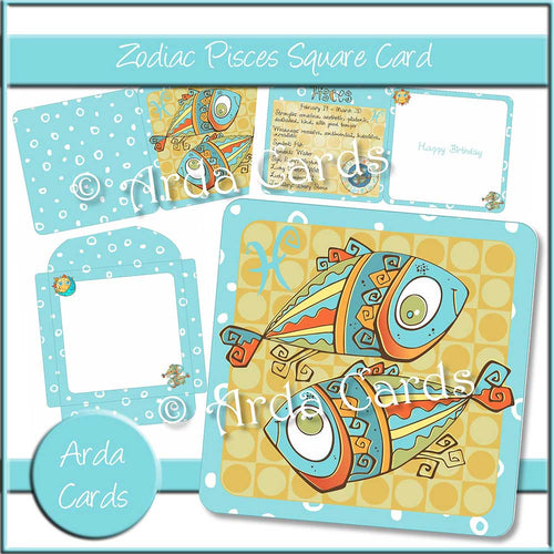 Zodiac Pisces Square Card