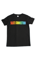 Skate Connection Logo Youth T-Shirt Black/Rainbow