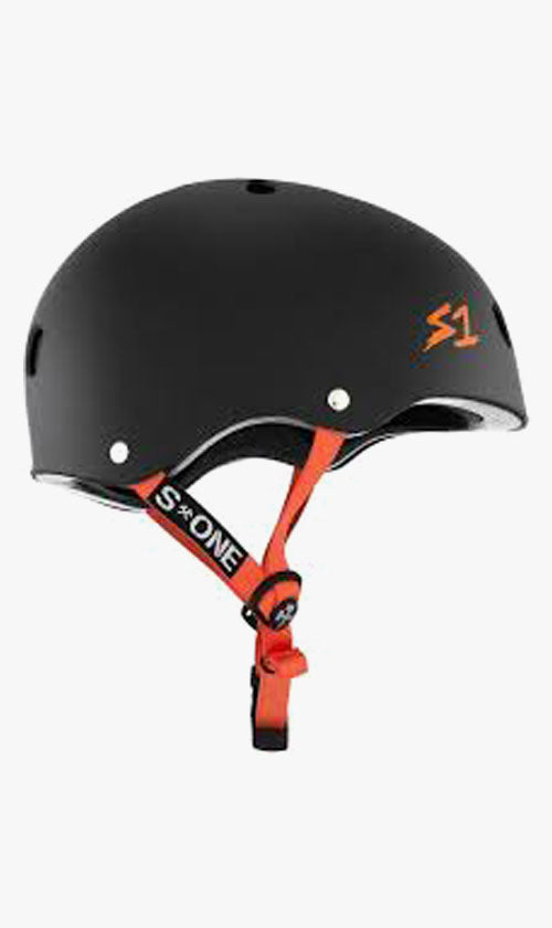 S1 Lifer Helmet Black Matte with Orange Straps