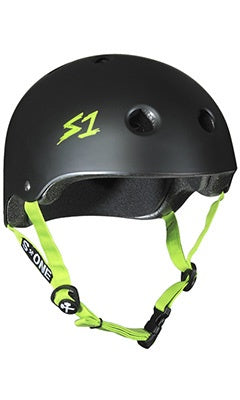 S1 Lifer Helmet Matte Black With Bright Green Straps