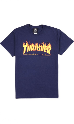 Thrasher Flame Mens T-Shirt Navy