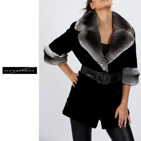 Shear Mink With Chinchilla Collar 3/4 Sleeve - alexandros-furs
