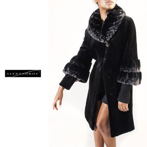 Long Sheared Mink Coat with Full Collar and Cuffs - alexandros-furs