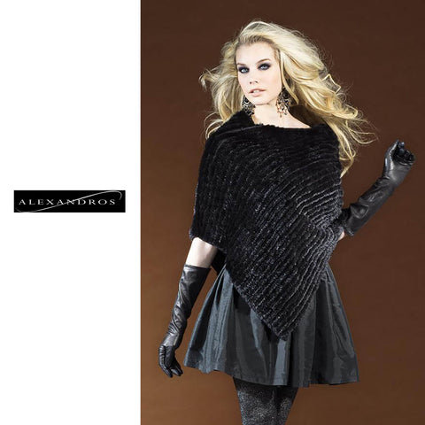 Knitted Mink Poncho - alexandros-furs