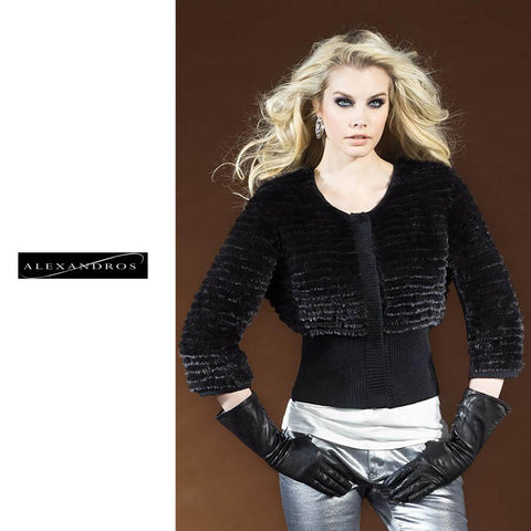 Knitted Mink Fur Jacket with Knit Waist Midriff - alexandros-furs
