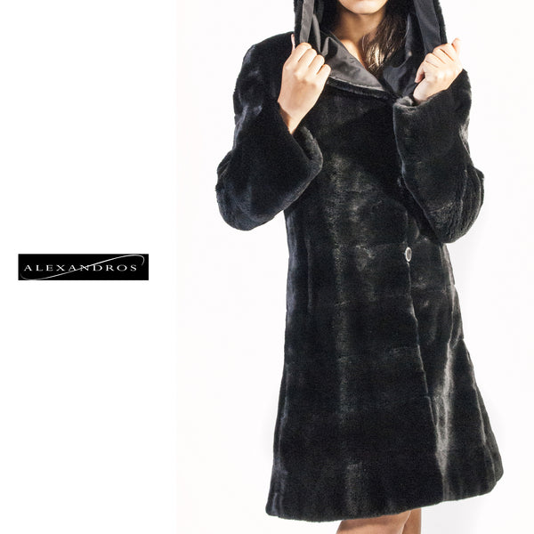 Reversible black raincoat - alexandros-furs